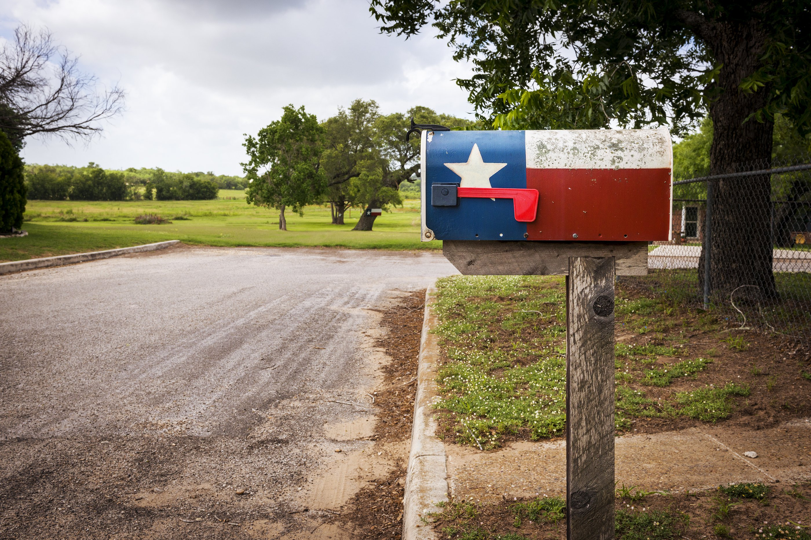 Mailbox painted with the Texas Flag in a street in Texas USA